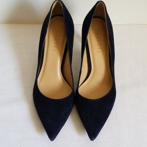 Talbots Pointy Toe Blue Suede Pumps Narrow